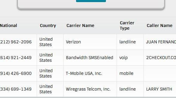 Look Up A Number >> Carrier Lookup By Phone Number